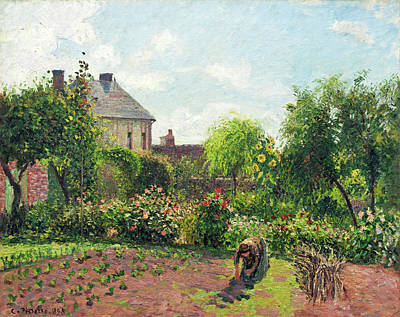 Tending Painting - The Artist's Garden At Eragny by Camille Pissarro