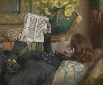 Drawing - The Artist's Wife Reading by Albert Bartholome