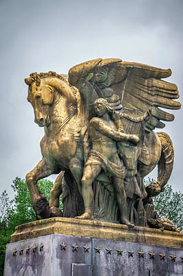 Photograph - The Arts Of War Statues At The Arlington Memorial Bridge - Washi by Alex Grichenko