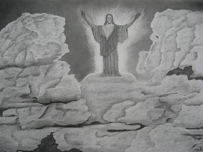 Pencil Drawing Of Jesus Drawing - The Ascension  by Steve Keller