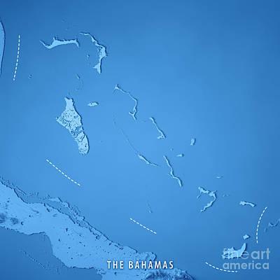 The Bahamas 3d Render Topographic Map Art Print