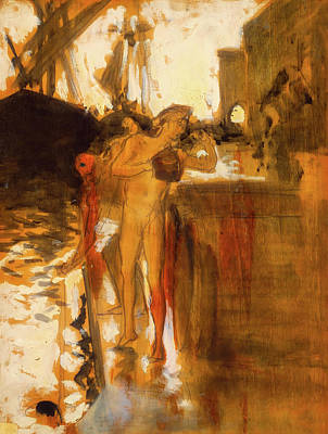 Wet On Wet Painting - The Balcony - Spain And Two Nude Bathers Standing On A Wharf by Mountain Dreams