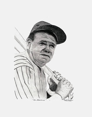 Babe Ruth Drawing - The Bambino by Bob and Carol Garrison