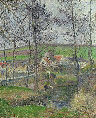 Countryside Painting - The Banks Of The Viosne At Osny In Grey Weather, Winter by Camille Pissarro