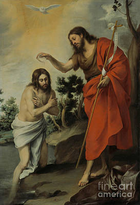 Jesus Christ Drawing - The Baptism Of Christ by Celestial Images