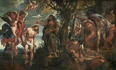 Baptism Painting - The Baptism Of Christ by Peter Paul Rubens