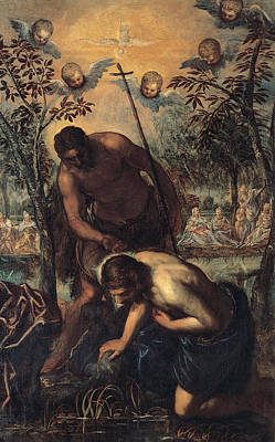 Baptism Painting - The Baptism Of Christ by Tintoretto