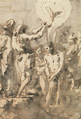 Drawing - The Baptism Of Christ, With Saint John by Giovanni Domenico Tiepolo