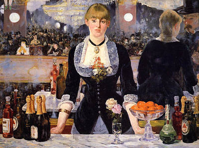 Glass Painting - The Bar At The Folies-bergere by Edouard Manet