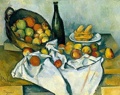 Table Cloth Painting - The Basket Of Apples by Paul Cezanne