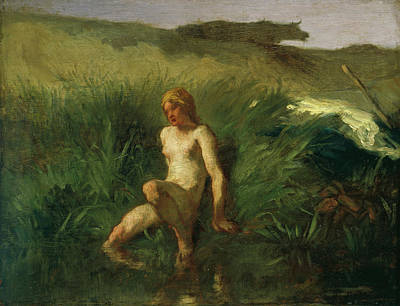 Realist Painting - The Bather by Jean-Francois Millet