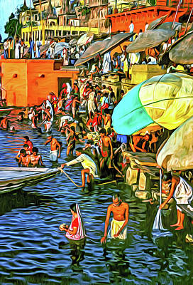 Photograph - The Bathing Ghats - Paint by Steve Harrington