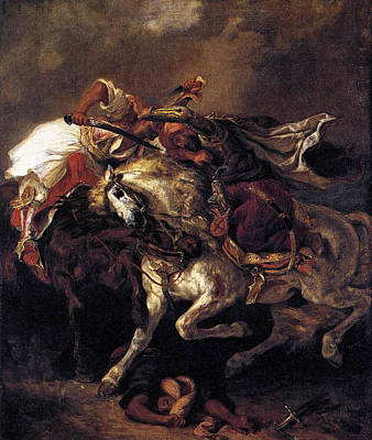 Horseback Painting - The Battle Of Giaour And Hassan by Eugene Delacroix