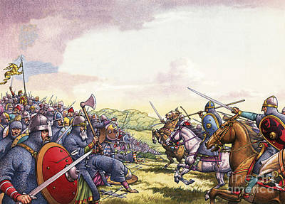 Axes Painting - The Battle Of Hastings by Pat Nicolle