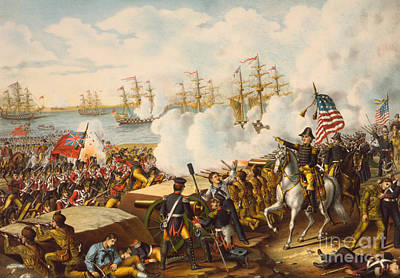 Harbor Drawing - The Battle Of New Orleans by American School