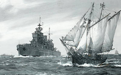Calming The Storm Painting - The Battleship H.m.s by Montague Dawson