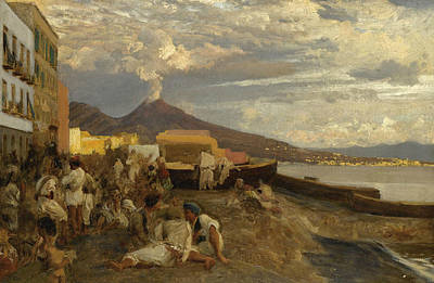German Art Painting - The Bay Of Naples, Vesuvius Beyond by Oswald Achenbach