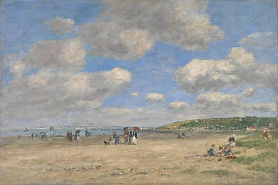 Digital Art - The Beach At Tourgeville Les Sablons by Eugene Boudin
