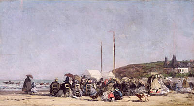 Crowds Painting - The Beach At Trouville by Eugene Louis Boudin