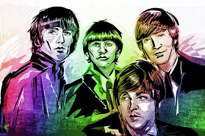 Mixed Media - The Beatles by Russell Pierce