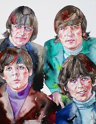 Painting - The Beatles - Watercolor Portrait.5 by Fabrizio Cassetta