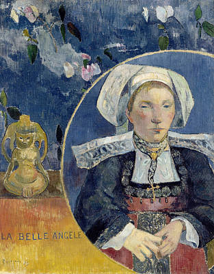Post-impressionist Painting - The Beautiful Angele by Paul Gauguin