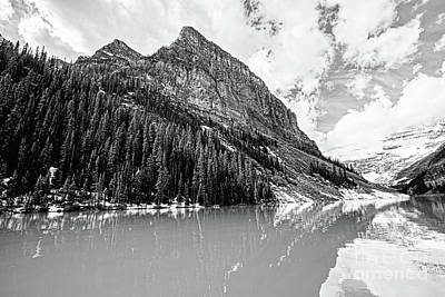 The Beauty Of Lake Louise Bw Art Print