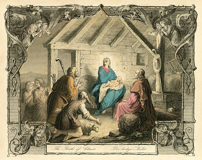 Baby Angel Drawing - The Birth Of Christ by English School