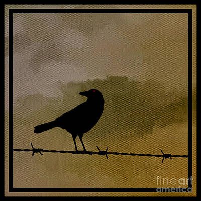 Barbed Wire Fences Painting - The Black Crow Knows by Edward Fielding