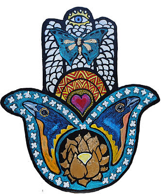 Painting - The Blue Bunting Hamsa by Patricia Arroyo