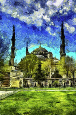 Mixed Media - The Blue Mosque Istanbul Art by David Pyatt