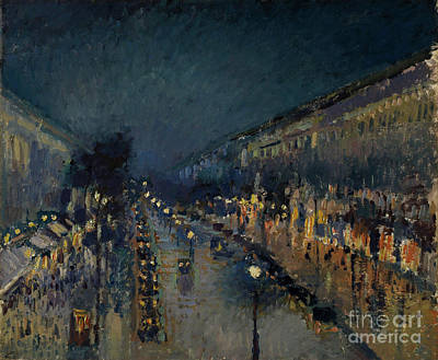 Street Store Painting - The Boulevard Montmartre At Night by Camille Pissarro