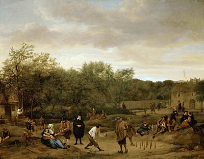 Steen Painting - The Bowling Game by Jan Steen