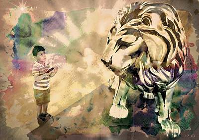 Le Cat Photograph - The Boy And The Lion 4 by Jean Francois Gil