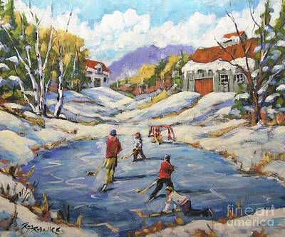 Hockey Player Painting - The Break Away By Prankearts by Richard T Pranke