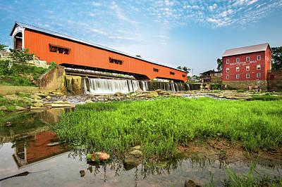 Indiana Rivers Digital Art - The Bridgeton Mill And Covered Bridge - Indiana by Gregory Ballos