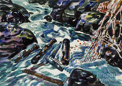 Nova Scotia Wall Art - Painting - The Brook, Nova Scotia  by George Luks
