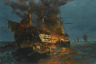 Greek School Of Art Painting - The Burning Of A Turkish Frigate by Konstantinos Volanakis