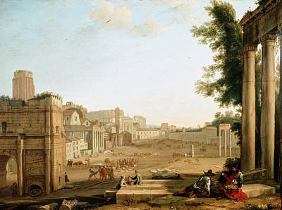 Urban Scenery Painting - The Campo Vaccino, Rome by Claude Lorrain
