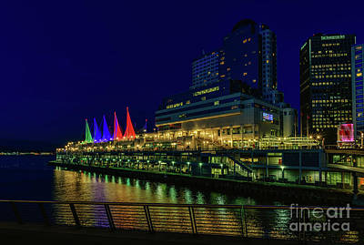 Night Photograph - The Canada Place At Night by Viktor Birkus