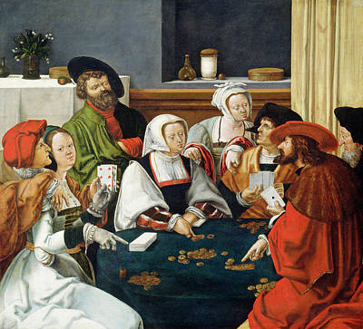 Painting - The Card Players by after Lucas van Leyden