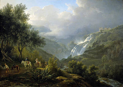 Painting - The Cascades At Tivoli, With A Storm Approaching by Abraham Teerlink