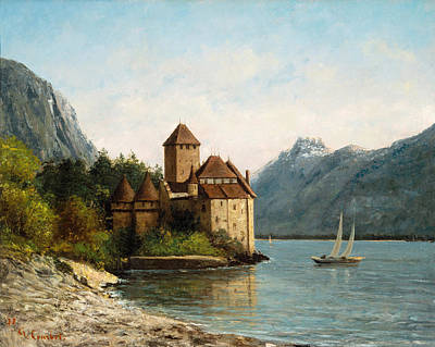 The Castle Of Chillon. Evening Art Print by Gustave Courbet