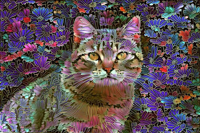 The Cat Who Loved Flowers 2 Art Print