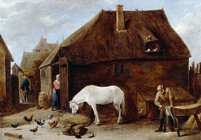 Elder Painting - The Chaff-cutter by David Teniers the Younger
