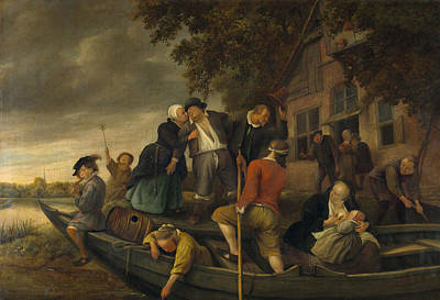 Flute Painting - The Cheerful House Oozes Times by Jan Steen