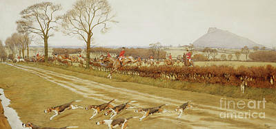 Running Horses Drawing - The Cheshire - Away From Tattenhall by Cecil Charles Windsor Aldin
