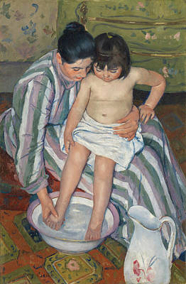 Washing Painting - The Child's Bath by Mary Cassatt