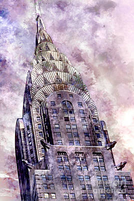 Apple Watercolor Painting - The Chrysler Building by Jon Neidert