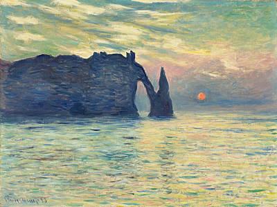 Monet Painting - The Cliff, Etretat, Sunset by Claude Monet